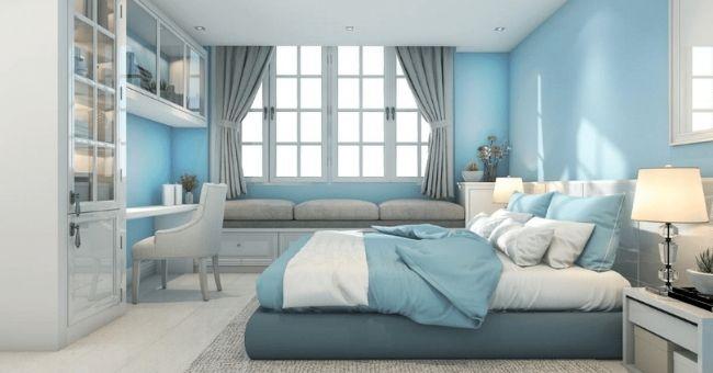 blue painted bedroom
