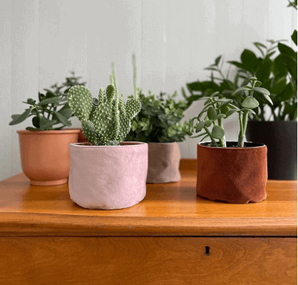 Rose gold, brown and tan colored velvet plant baskets