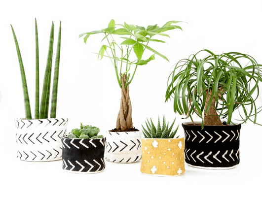 black and white mudcloth small plant baskets