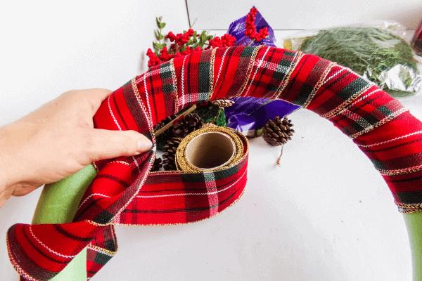 wrap plaid ribbon around entire wreath form