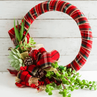 succulents attached to wreath wrapped in red plaid ribbon