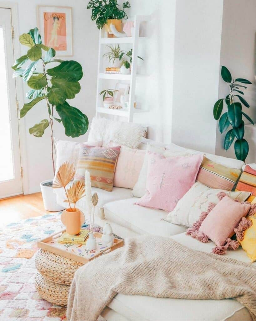 pink yellow and orange pillows on sofa fiddle leaf fig plant in corner