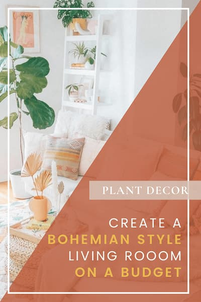 bohemian style living room on a budget