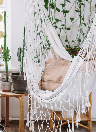 tropical decor staycation ideas: hammock & tropical plants
