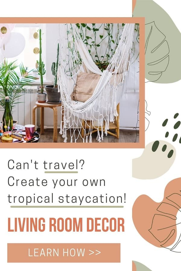 tropical staycation decor: hammock, tropical plants and string lights