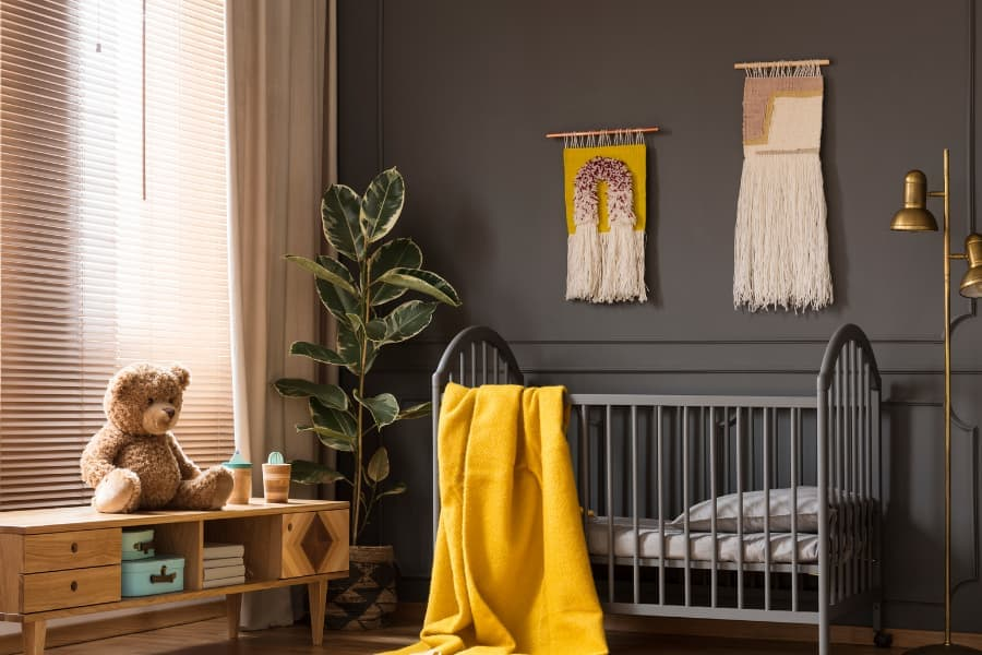 fiddle leaf fit plant in baby nursery