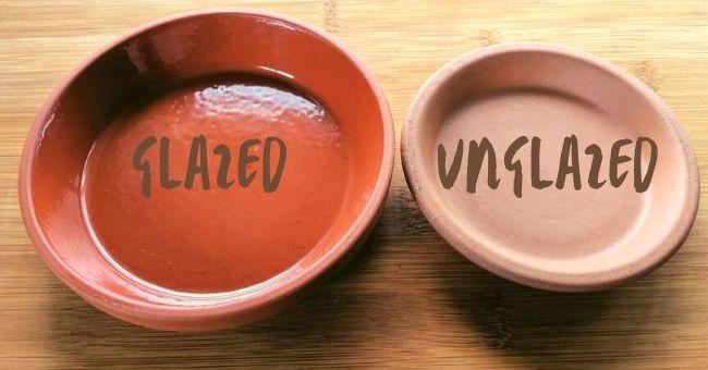 glazed beside unglazed terracotta saucers