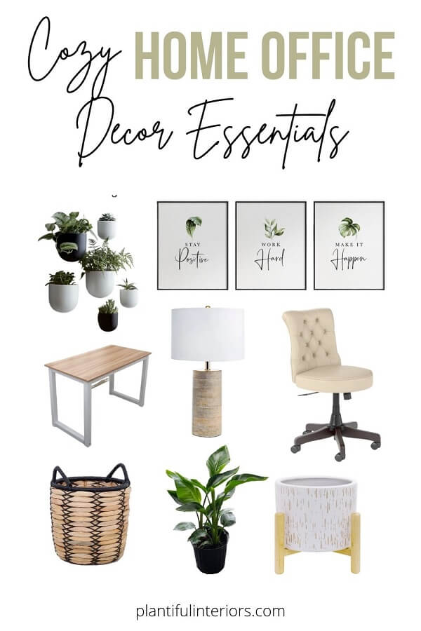 collage of home office decor and furniture plant theme